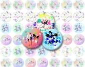 Splatter Paint V1 Bottlecap Images / Paint Splotches / Retro Bright Colors / Printable Digital Collage / 1-Inch Circles / Instant Download