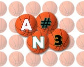 Basketball Alphabet Letters and Numbers / Bottlecap Images / Sports Basketballs / Initials Printable Digital Collage / 1-Inch Circles