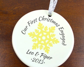 Our First Christmas Engaged Ornament - Snowflake - Personalized Porcelain Engagement Holiday Gift Ornament- orn132- Peachwik - Custom Colors