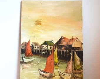 Vintage Acrylic Painting Ships Nautical Painting Asian Oriental Ships In Harbor Painting Wall Art
