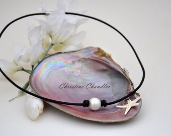 Leather Necklace - Pearl and Leather Necklace - Christine Chandler - One Pearl Necklace - 12mm Pearl - Pearl and Leather Jewelry - Leather