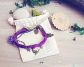 Moon Stars bracelet. Boho Gypsy Purple bracelet. Moon jewelry purple Sari silk, bohemian bracelet, bohemian owl star bracelet, boho jewelry