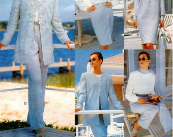 Vogue Five Easy Pieces Pattern 1727 Misses/Misses Petite Very Easy Jacket, Dress, Top, Skirt, Pants & Scarf 14-18 UNCUT