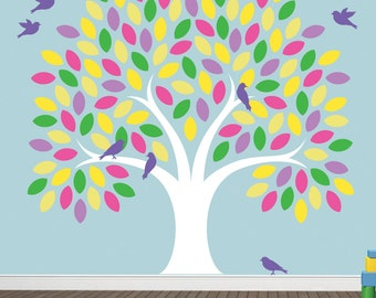 JUMBO Extra LARGE REUSABLE Tree Wall Decal with Birds