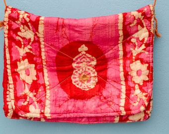 Vintage vivid pink purse - Indian tie dye silk fabric with gold embroidery details - SALE