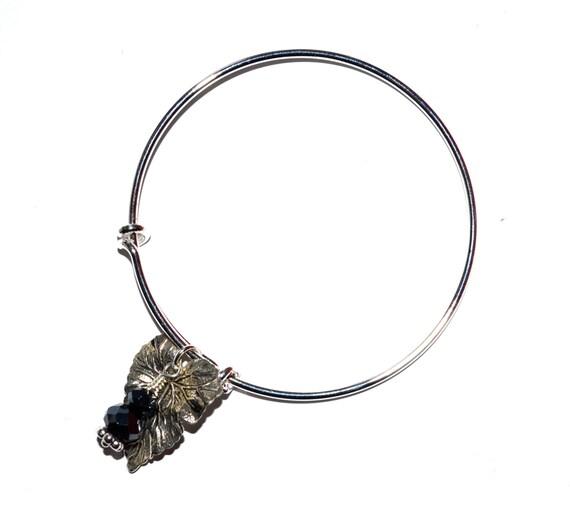 Adjustable Bangle, Leaf Bracelet, Autumn Jewelry, Black Blue, Silver Bangle, Expandable Bracelet, Fall Jewelry, Czech Crystal, Leaf Charm