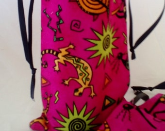 6 Tribal Print Magenta Party Goody Bags, Birthday Gift Bags, Party Favors Upcycled Eco Friendly