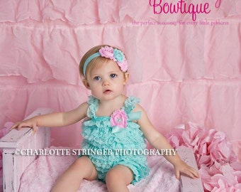 Cake Smash Outfit - Baby Girl 1st Birthday Outfit - Aqua & Pink Petti Romper - Baby Girl Rompers -Cotton Candy Birthday - 1st Birthday Photo