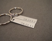 Fiance Gift,Valentines Gift, Personalized Date Keychains, Couples Date Keychains, Rectangle Keychain, Personalized Gift, Valentines Day Gift