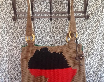 Africa Tapestry Crochet Tote Bag/Ready to Ship/ One of a Kind