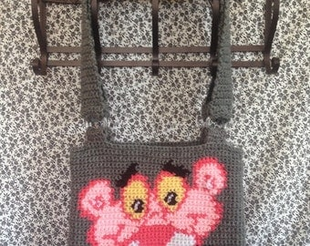 Pink Panther Tapestry Crochet Tote Bag/ Ready to Ship/ One of a Kind