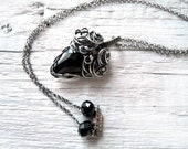 Silver necklace, wire wrapped silver, black Swarovski crystal, Swarovski necklace, victorian luxury necklace for her by nurrgula