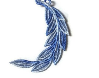 1 Lace Feather, Perfect for Wedding Favors, Ornament, Tag for Gift Box (C)