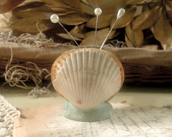 Vintage / Antique Up Cycled Shell  Pin Cushion / Putt-in -Bay Souvenir
