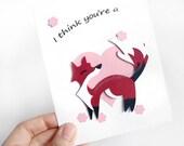 Cute Fox Card, Valentines Day, Anniversary Card, Paper Cut Card, Blank Greeting Card, Happy Birthday Card, I Love you, Animal Art