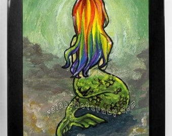 Mermaid Print, Rainbow Hair, Nautical Wall Decor, Fantasy Art, Underwater Nursery, Girls Bedroom Poster, Gift for Her, Ocean Poster