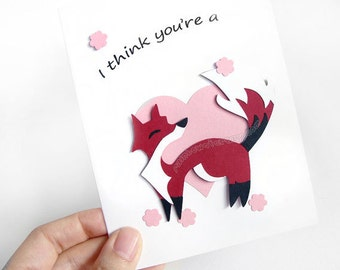 Cute Fox Card, Valentines Day, Paper Cut Card, Blank Card, Anniversary Card, I Love You, Animal Art, Personalized Name, Custom Message