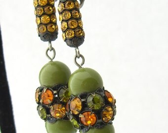 1960s Retro Earrings, Avocado Green Amber Glass Earrings, Iconic Mad Men Vintage Jewelry