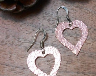 Copper Heart Earrings -Rustic Jewelry-Hammered Copper - Heart -Valentine's Day