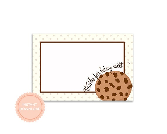 INSTANT DOWNLOAD, MILK & Cookies Party, Flat 4x6 Thank You Notes (Baby Shower Thank You)
