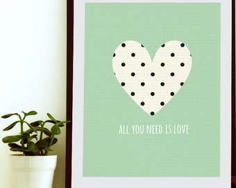 All You Need Is Love Wall Art - Heart Wall Art - Heart Wall Decor - Modern Love - Heart Art Print - Heart Artwork - Couple Wall Art Decor