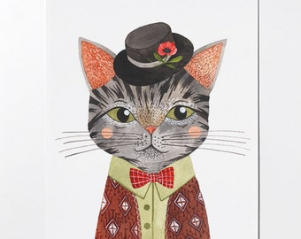 SALE - Cool Cat - 8x10 art print