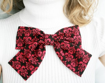 Damask pink Bow brooch. Brown and pink Cotton fabric bow. . Lolita. Japanesse. oversize bow. Ready to ship