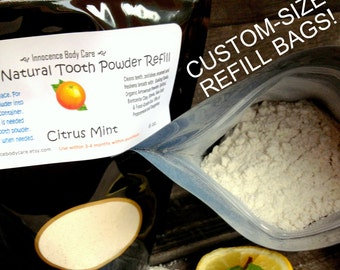 Tooth Powder REFILL Bags- Peppermint & Juicy Tangerine. Natural, VEGAN. Fluoride-Free, Whitening, Kid-Safe, Best-Seller. Choose Your Size!