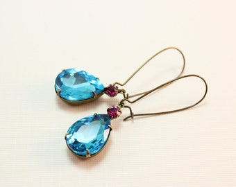 Aqua and pink crystal earrings - vintage Swarovski turquoise blue faceted pear jewels on brass kidney earwires