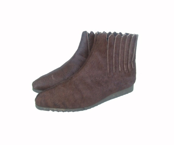 vintage 1960s go go boots 60s brown ponyskin ankle boots