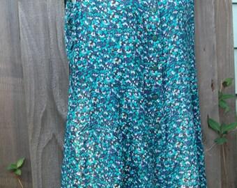 Vintage Honors Romper / Jumper / Jumpsuit Shorts, Blue & Green Floral, Women's 18W x-Lg