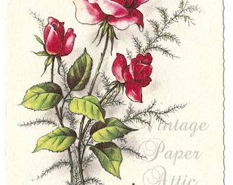 Dark Pink Roses Antique Vintage French Postcard Post Card from Vintage Paper Attic