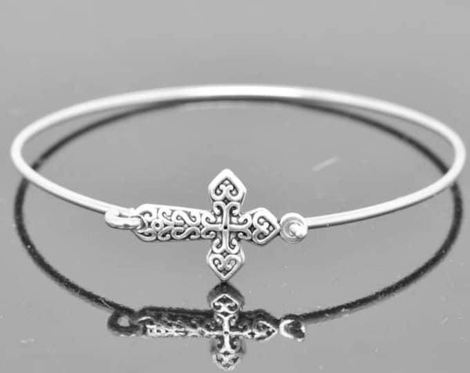 Cross Bangle, Sterling Silver Bangle, Cross Bracelet, Stackable Bangle, Charm Bangle, Bridesmaid Bangle, Bridesmaid jewelry, Bridal Bracelet