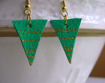 Aqua Green and gold triangle tribal leather earrings hand painted