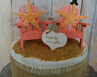 Starfish-Adirondack chair-wedding cake topper-beach wedding-Mr. and Mrs.-bride and groom-cake topper-destination wedding-beach wedding-chair