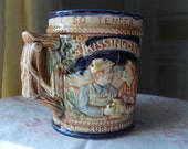 "Be Mine! ""Kissing Makes the Heart Surrender"" - Vintage Kissing Stein with Two Handles - ""Kissing's Sweet With Love So Tender"""