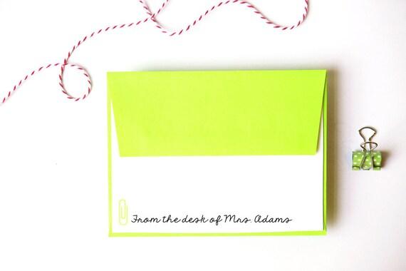 Custom Teacher Stationery Teacher Note Cards Personalized