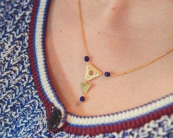 Blue triangles necklace, triangle necklace, geometric jewelry, minimalist necklace, arrow necklace