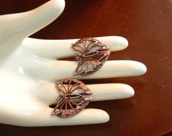 Dangle copper butterfly earrings