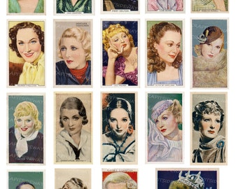 Vintage Movie Stars Digital Collage Sheet Film Stars Cinema Beauties Ladies INSTANT DOWNLOAD Printable Images Cigarette Cards DC-003