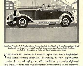 Antique 1926 Art Deco Car Ad STUDEBAKER, advertising print decor