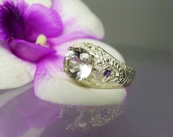 Herkimer Diamond Ring With Amethyst Sterling Antique Style Filigree Design