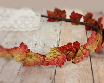 Autumn Leaves Floral Crown, Autumn, leaves, fall, weddings, bridal, photo prop
