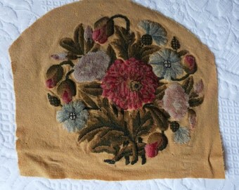 Antique French needlepoint needlecraft panel w hand embroidered flowers needlework seat cover or cushion pillow case panel, boudoir decor