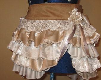 Bustle belt, tribal, OOAK, fusion,boho,belly dance, steampunk, festival,rave, costume, burlesque,skirt,wrap