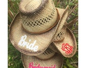 MONOGRAMMED COWGIRL HAT / Bachelorette Party Gift / Bride / Bridesmaid / Monogrammed Initials Hat