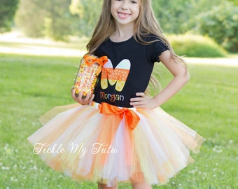 Candy Corn Initial Halloween Tutu Outfit-Candy Corn Tutu Outfit-Candy Corn Birthday Outfit-Halloween Pageant Outfit *Bow NOT Included*