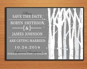 Birch Tree Forest Wedding Save the Date PRINTABLE / DIY