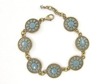 Boho Turquoise Bracelet, Teal Bracelet, Blue Mandala Bracelet Circle Bronze Link Bohemian Jewelry |BC2-12