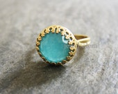 Gold Aqua Ring Silver Aquamarine Ring Turquoise Mint Blue Stone Ring Vintage Style Adjustable Statement Gemstone Ring Friendship Gift